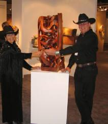 SOFA Chicago 2006 was our first-ever SOFA event.  Here are Gaye & I on Opening Night with my piece, Gaia, in the del Mano Gallery exhibit space.