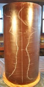 Stage 1 wax cylinder sketched with initial design lines for Mariah by Harry Pollitt