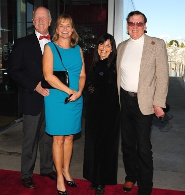 Ted & Melissa Lagried pictured with Gaye & Harry Pollitt at the entrance to Museum of Glass Red Hot Auction