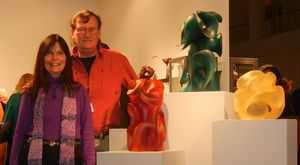 The Pollitts, glass artist Harry & his wife Gaye, in the exhibit of his four glass sculptures at SOFA Chicago 2013