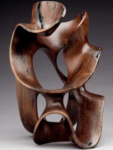 The first  of the Morph Series, hybrid ribbon work wood sculptures by Harry Pollitt. Strong negative space created by curves & sweeps are  unique to Pollitt's work.
