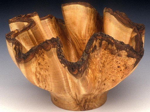 Oceania, undulating, maple burl sculpture from bark-edge Maple by Harry Pollitt