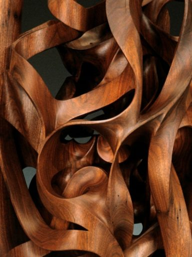 Gaia, an interior, up close & personal detail of the sculpted sweeps & organic movement & wood grain patterns of Pollitt's monumental work.