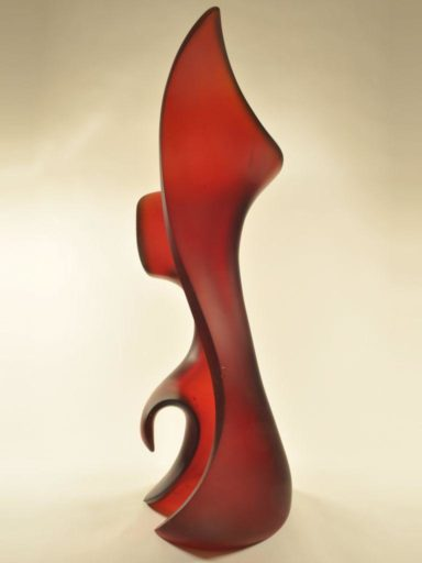 Open design glass sculpture entitled Sentinel, Harry Pollitt's newest piece.
