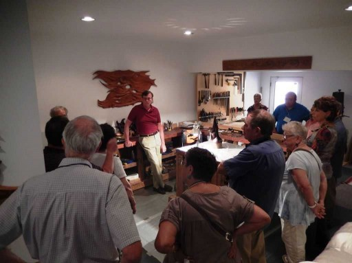Harry Pollitt during Q & A with GLANC about the creative process for his glass sculptures and wood art.