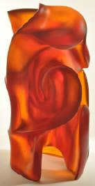 Pollitt's solid core glass sculpture design for Red Shift reveals glowing, deep layers of color