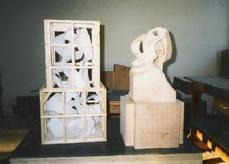 Up Draft, two views of Harry Pollitt's ribbon sculpture in wood while in process.