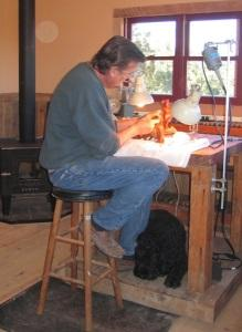 The artist, his work & his dog!