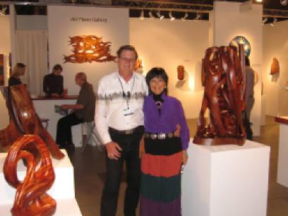 Gaye, my love and wife, and I standing in the del Mano Gallery exhibit where 5 of my works were presented.