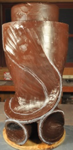 Pollitt's wax form begins to take shape for his #25 glass sculpture