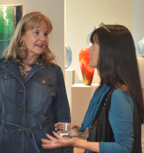 Melissa Lagreid and Gaye Pollitt chatting during Traver Gallery Pollitt Reception on 9/18/2013