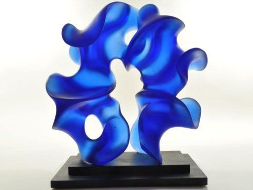 Event Horizon, circular, vertical, abstract cast glass sculpture in Cobalt blue by Harry Pollitt