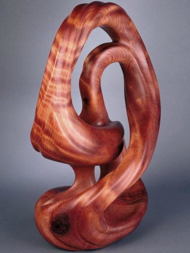 Highly figured redwood sculpture by Harry Pollitt named Infinity Rising