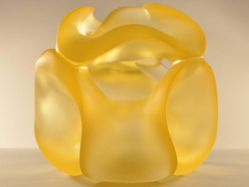 Limoncelli, near spherical glass sculpture, luminous in Citrine cast glass.