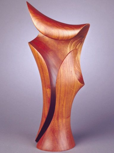Black Cherry wood sculpture, Morph VII, simple but graceful and open.