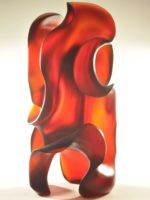 Mythic Fire, deep red, abstract glass sculpture by Harry Pollitt, sold by Holsten Galleries