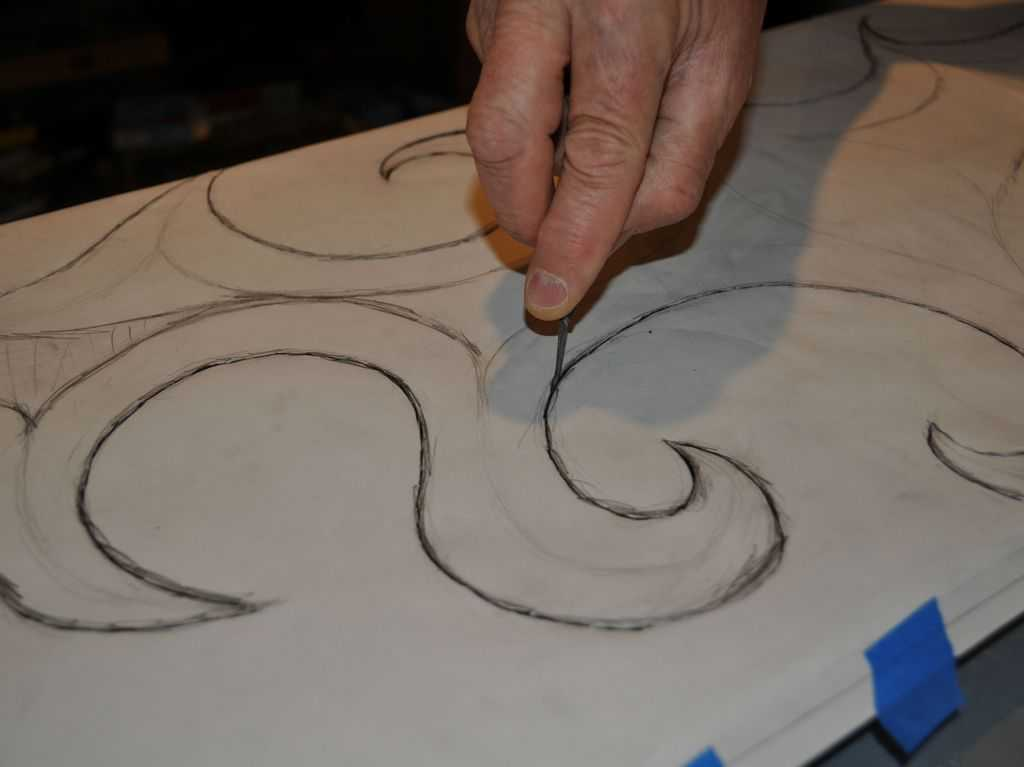 Harry Pollitt - creating Coriolis glass sculpture tracing design