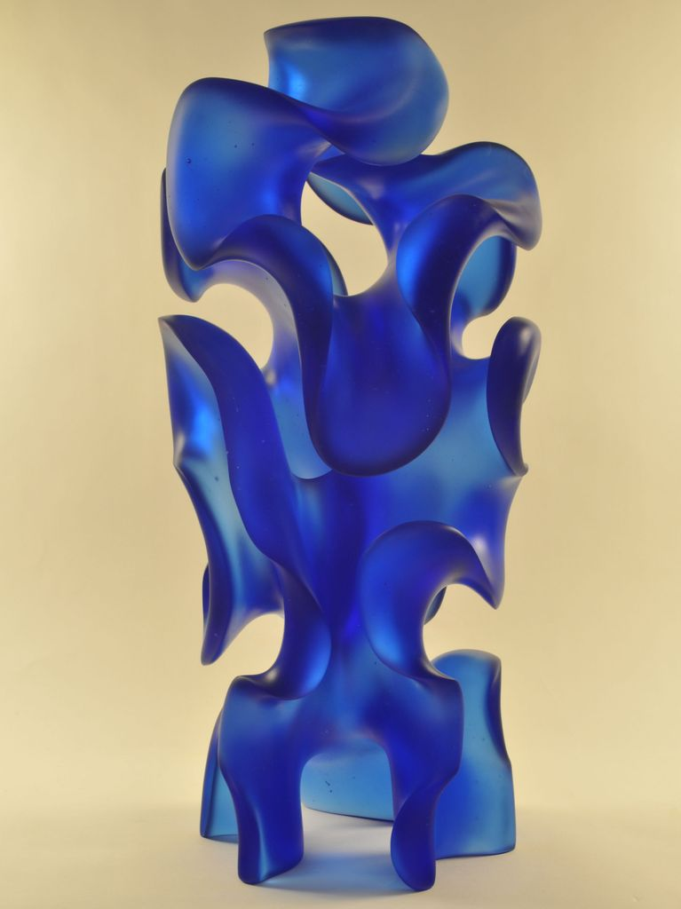 Harry Pollitt cobalt blue glass sculpture - Enigma