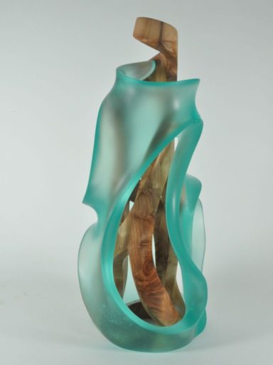 GENESIS by Harry Pollitt. A wood and glass sculpture commission.